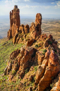 ETH3020 Ethiopia, Tigray Region, Gheralta Mountains, Guh.  Many ancient rock-hewn churches are situated in the ruggedly beautiful red sandstone Gheralta Mountains. Abune Yemata church was excavated in the wal...
