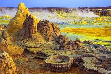 ETH3028 Ethiopia, Dallol, Afar Region. Gas vents, geysers, salt, iron stains, sulphur and halophile algae turn the hot springs at Dallol into a kaleidoscope of spectacular colours and strange natural formatio...