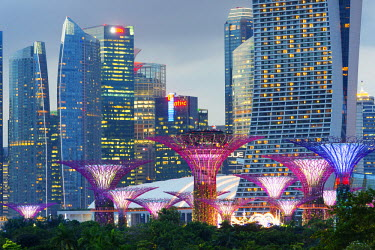 SNG1259 South East Asia, Singapore, Gardens by the Bay, Supertree Grove and city backdrop of Marina Bay