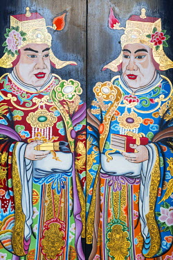 SNG1308 South East Asia, Singapore, Chinatown, Thian Hock Keng Temple, door painting detail