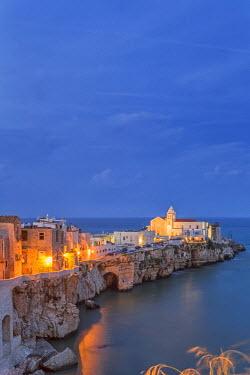 ITA5180AW Italy, Italia. Apulia, Puglia, Foggia district. Gargano, Vieste. Old town and Punta di San Francesco. (San Francesco promanade)