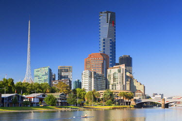 AUS2389AWRF Eureka Tower and Victorian Arts Centre along Yarra River, Melbourne, Victoria, Australia