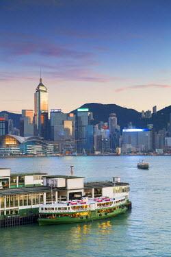 CH10635AW View of Star Ferry Terminal and Hong Kong Island skyline, Hong Kong, China