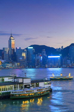 CH10636AW View of Star Ferry Terminal and Hong Kong Island skyline, Hong Kong, China
