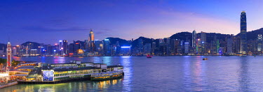 CH10637AW View of Star Ferry Terminal and Hong Kong Island skyline, Hong Kong, China