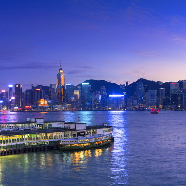 CH10639AW View of Star Ferry Terminal and Hong Kong Island skyline, Hong Kong, China