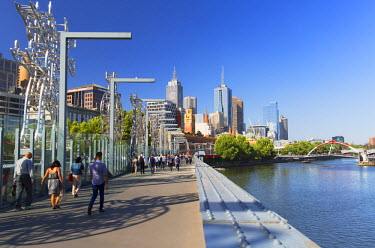 AUS2172AW People crossing Sandridge Bridge on Yarra River, Melbourne, Victoria, Australia