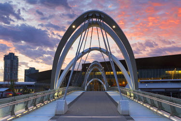 AUS2227AW Seafarers Bridge and Convention Centre at dawn, Melbourne, Victoria, Australia