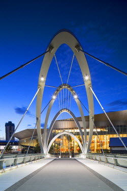 AUS2234AW Seafarers Bridge and Convention Centre at dawn, Melbourne, Victoria, Australia
