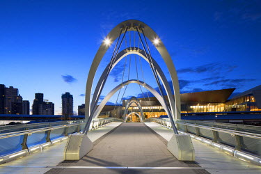 AUS2235AW Seafarers Bridge and Convention Centre at dawn, Melbourne, Victoria, Australia
