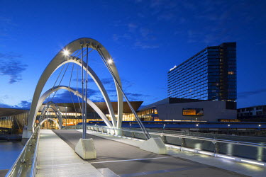 AUS2236AW Seafarers Bridge, Convention Centre and Hilton Hotel at dawn, Melbourne, Victoria, Australia