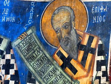 CY01137 12th century fresco, St. Michael church, Lefkara, Cyprus