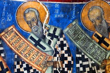 CY01139 12th century fresco, St. Michael church, Lefkara, Cyprus