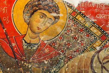 CY01147 Saint George, 13th century fresco, Church of Panagia tou Moutoulla, Moutoullas, Cyprus