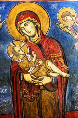 CY01158 Byzantine fresco (12th century) in Panagia tou Arakou church, Lagoudhera, Troodos mountains, Cyprus