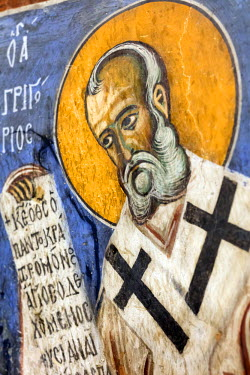 CY01161 Byzantine fresco (12th century) in Panagia tou Arakou church, Lagoudhera, Troodos mountains, Cyprus