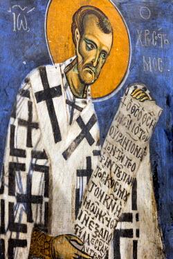 CY01162 Byzantine fresco (12th century) in Panagia tou Arakou church, Lagoudhera, Troodos mountains, Cyprus