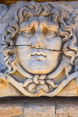 TK09379 Head of Medusa, ruins of ancient Temple of Apollo, Didyma, Aydin Province, Turkey
