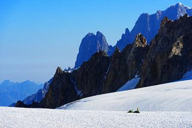 FRA8745 Europe, France, Haute Savoie, Rhone Alps, Chamonix, winter camping below Les Drus and Aiguille Verte