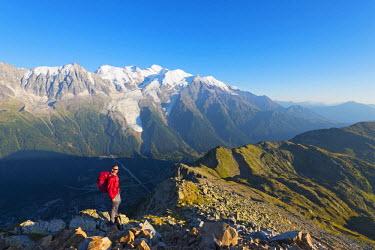 FRA8752 Europe, France, Haute Savoie, Rhone Alps, Chamonix, Mont Blanc 4810m, hiker at Brevant
