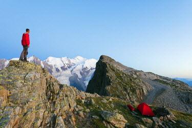 FRA8753 Europe, France, Haute Savoie, Rhone Alps, Chamonix, Mont Blanc 4810m, hiker at Brevant