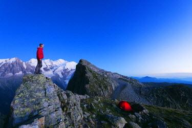 FRA8754 Europe, France, Haute Savoie, Rhone Alps, Chamonix, Mont Blanc 4810m, hiker at Brevant