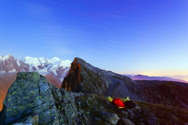 FRA8755 Europe, France, Haute Savoie, Rhone Alps, Chamonix, Mont Blanc 4810m, campsite at Brevant