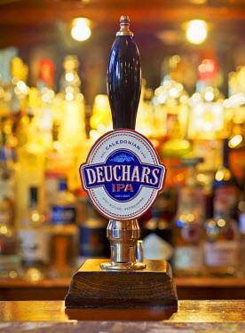 UK, Scotland, Lothian, Edinburgh, Close up of the Caledonian Deuchars IPA Pale Ale Pump in the Bennets Bar.