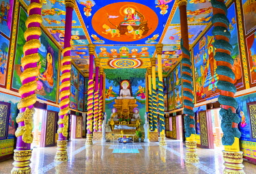 CMB1417AW Colorful murals inside of Wat Ream, Phsar Ream village, Preah Sihanouk Province, Cambodia