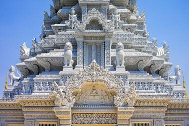 CMB1442AW Ornate stupa at Phnom Oudong, Kandal Province, Cambodia