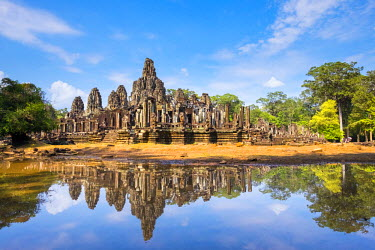 CMB1473AW Prasat Bayon temple ruins, Angkor Thom, UNESCO World Heritage Site, Siem Reap Province, Cambodia