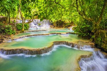 LAO1262AW Kuang Si Falls (Tat Kuang Si) Waterfall, Louangphabang Province, Laos (MR)