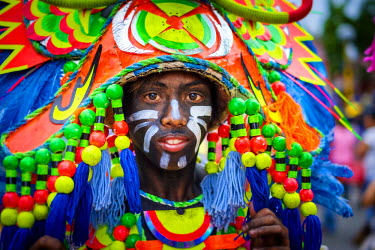 PHI1342AW Portrait of Ati-atihan festival participant, Kalibo, Aklan, Western Visayas, Philippines