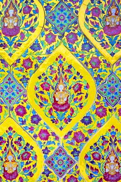 THA1079AW Ornate painted ceramic tiles, Wat Ratchabopit Sathitmahasimaram Ratchaworawihan buddhist temple, Bangkok, Thailand
