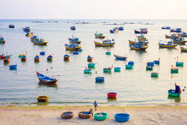 VIT1153AW Fishing boats in harbor at Mui Ne, Phan Thiet, Binh Thuan Province, Vietnam
