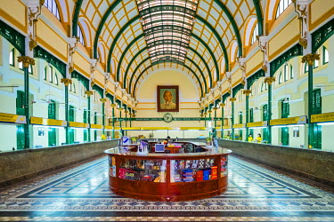 VIT1161AW Colonial interior of Saigon Central Post Office, Ho Chi Minh City (Saigon), Vietnam