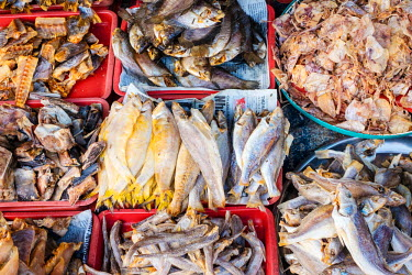 VIT1174AW Dried fish for sale at An Binh market, Can Tho, Mekong Delta, Vietnam