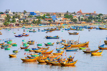 VIT1202AWRF Fishing boats in harbor at Mui Ne, Phan Thiet, Binh Thuan Province, Vietnam