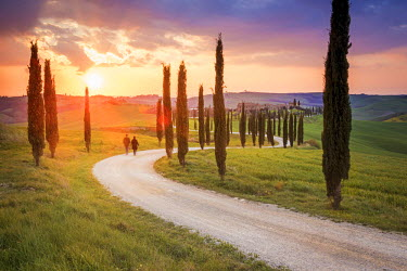 ITA5252AW Valdorcia, Siena, Tuscany, Italy. Couple walking on a road of cypresses to a farm with a stormy sunset in the background.