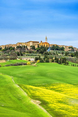 ITA5311AWRF Pienza, Siena district, Tuscany, Italy. View of the green hills of Pienza with the village on top.