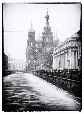 View towards Church of our Saviour on the spilled blood, Saint Petersburg, Russia