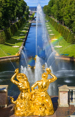 RUS1924AW Samson Fountain and the Grand Cascade of the Peterhof Palace, Petergof, Saint Petersburg, Russia
