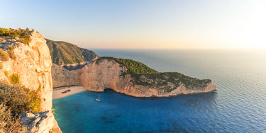 Sunset over famous shipwreck beach. Zakynthos, Greek Islands, Greece