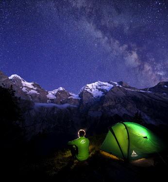 CLKRM28952 Night camping around Lake Oeschinensee Bernese Oberland Kandersteg Canton of Bern Switzerland Europe