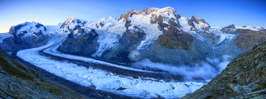 CLKRM33613 Panoramic view of Mount Rosa Massif and its glacier at dusk Zermatt Pennine Alps Canton of Valais Switzerland Europe
