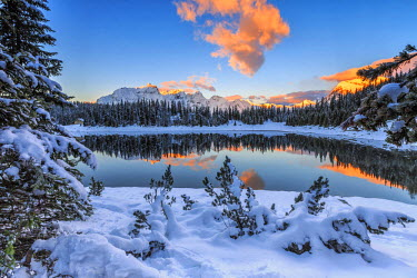CLKRM36554 The colors of dawn on the snowy peaks and woods reflected in Palu Lake Malenco Valley Valtellina Lombardy Italy Europe