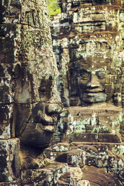 CM028RF Cambodia, Temples of Angkor (UNESCO site), Bayon, smiling face of Avalokiteshvara