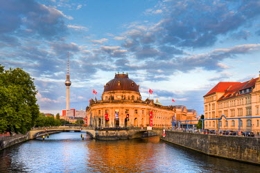 GER9048AW River Spree, Bode Museum and TV tower, Museum Island, Berlin, Germany