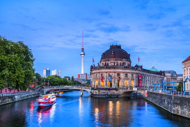 GER9049AW River Spree, Bode Museum and TV tower, Museum Island, Berlin, Germany