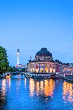 GER9051AW River Spree, Bode Museum and TV tower, Museum Island, Berlin, Germany
